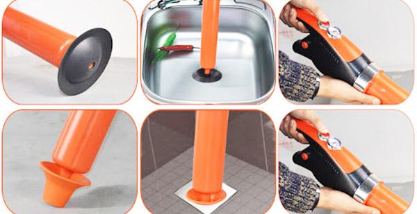 sử dụng áp suất cao của khí nén và nước để làm sạch đường ống nước